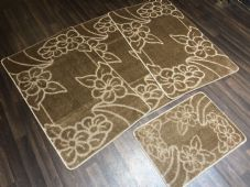 ROMANY GYPSY WASHABLES NICE NON SLIP SETS OF 4 MATS DARK BEIGE CHEAPEST AROUND